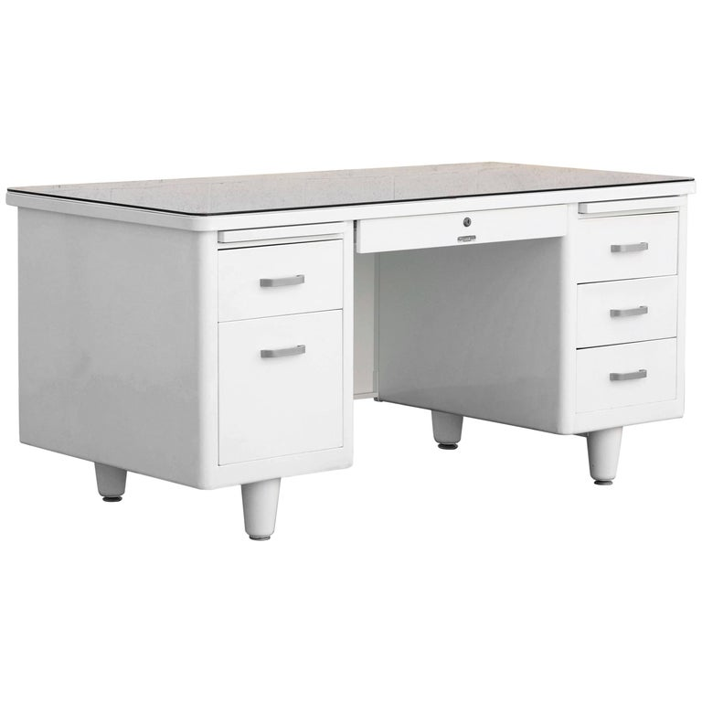 Classic McDowell Craig Tanker Desk Refinished in White, Custom Order For Sale