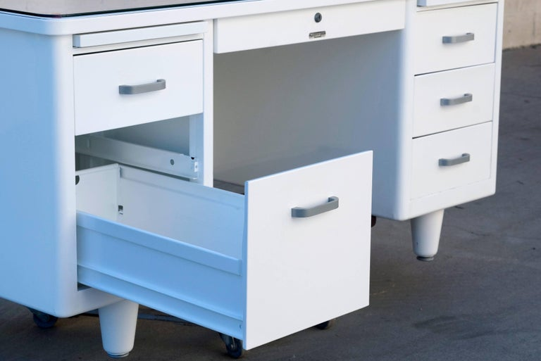 American Classic McDowell Craig Tanker Desk Refinished in White, Custom Order For Sale