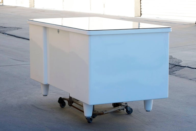 Brushed Classic McDowell Craig Tanker Desk Refinished in White, Custom Order For Sale
