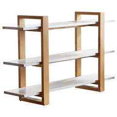 Modernist Steel and Alder Bookshelf, Custom Made by Rehab Vintage