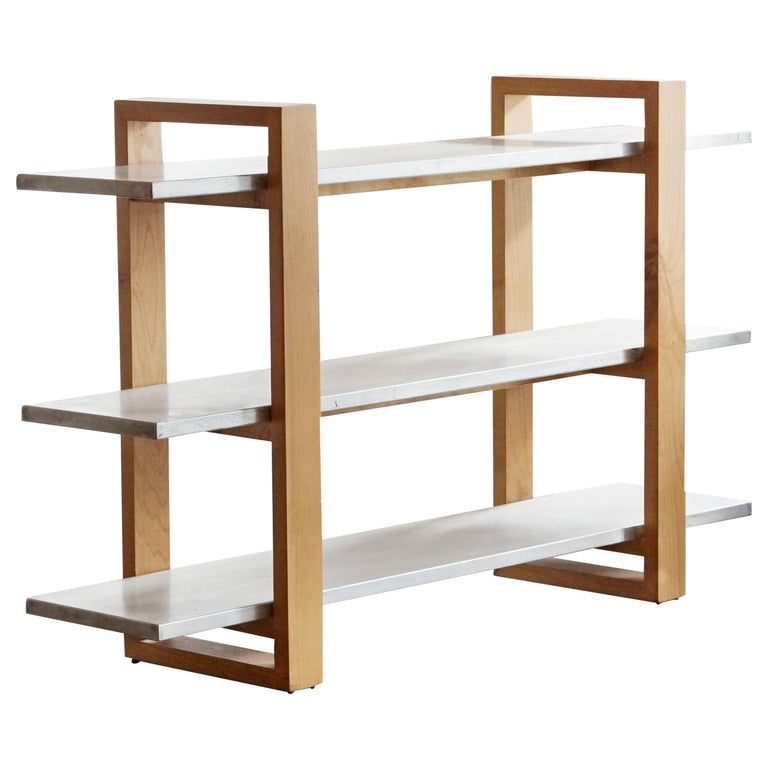 Modernist Zinc and Alder Bookshelf, Custom Made by Rehab Vintage