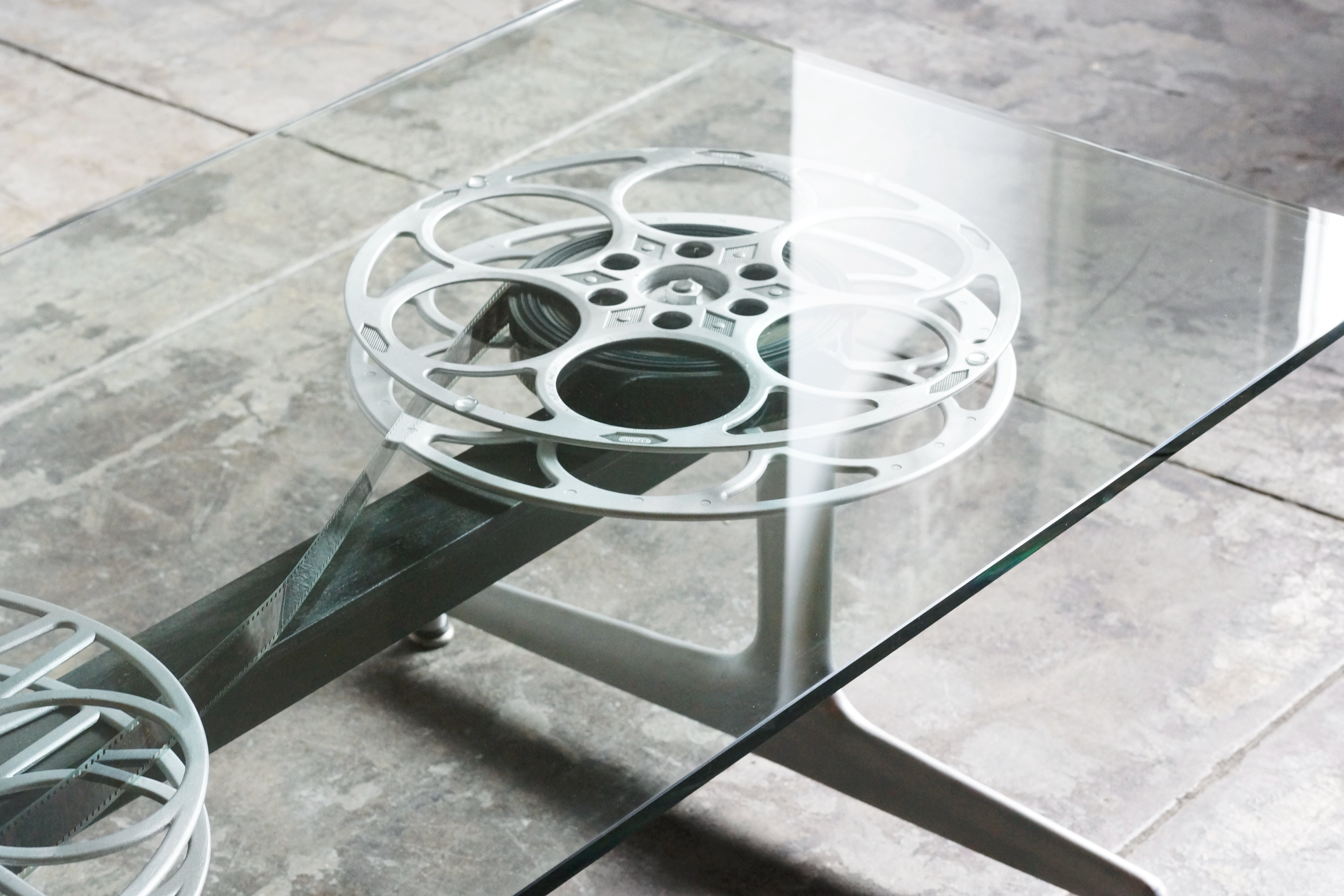 Film Reel Coffee Table On 1960s Modern Base For Sale At 1stdibs