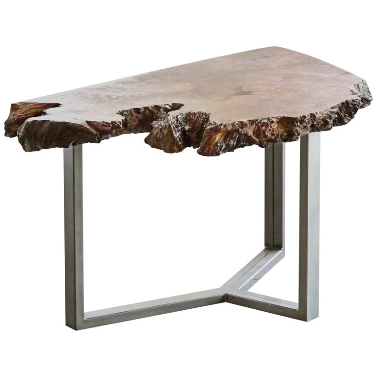 Redwood Coffee Table: Beautiful Redwood Coffee Table With Inlaid Petrified Wood