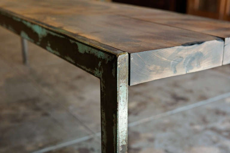 Rustic Steel And Alder Wood Bench For Sale At 1stdibs
