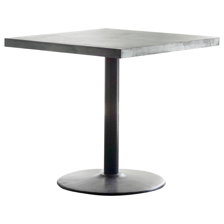 Original Bistro Table with Zinc Top and Reclaimed Steel Base