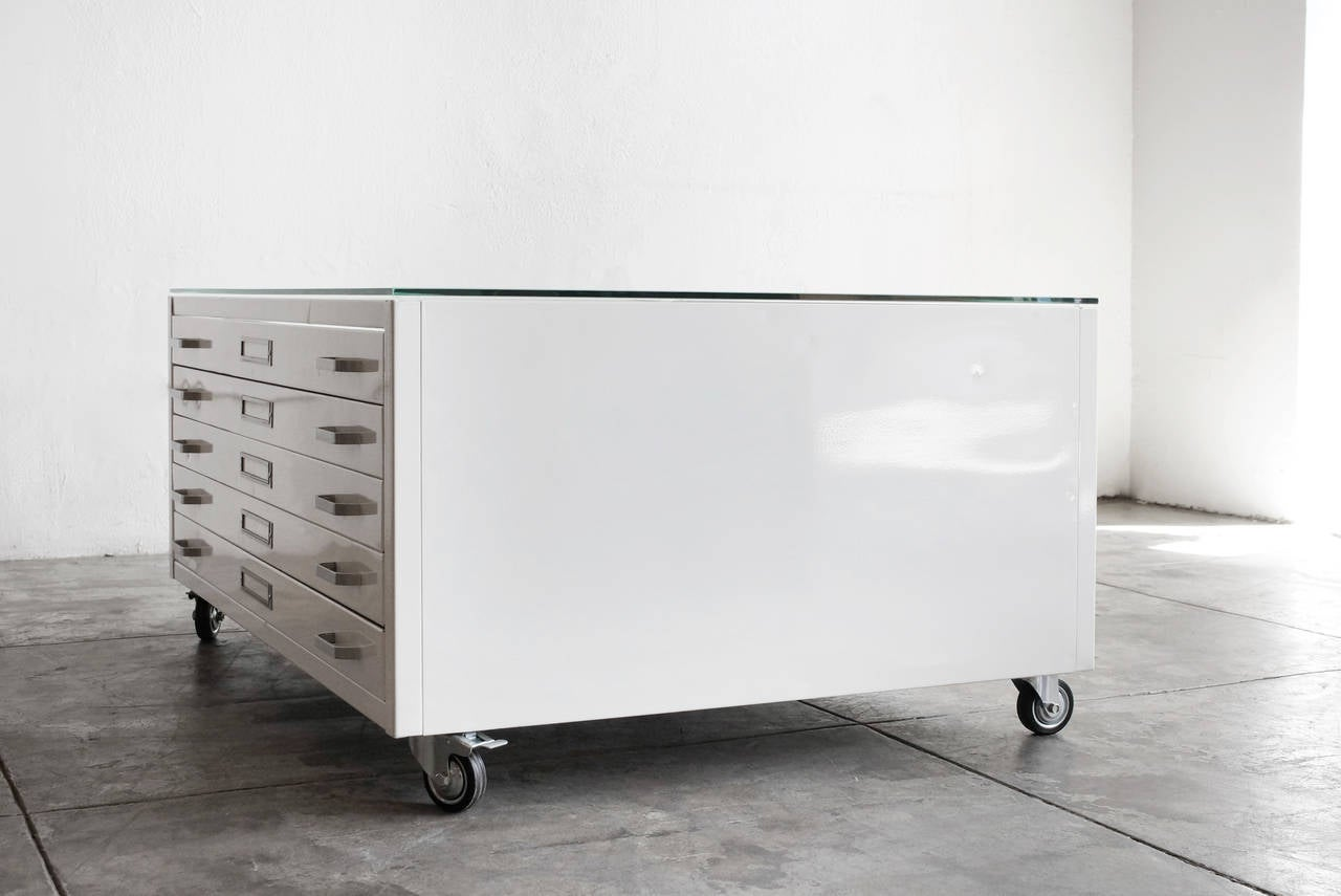 - Flat File Coffee Table In Gloss White With Glass Top, Custom Order