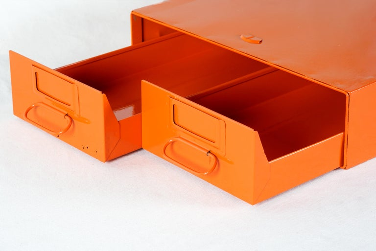 Mid-Century Modern 1940s Card Catalog File Drawers, Refinished in Gloss Tangerine For Sale