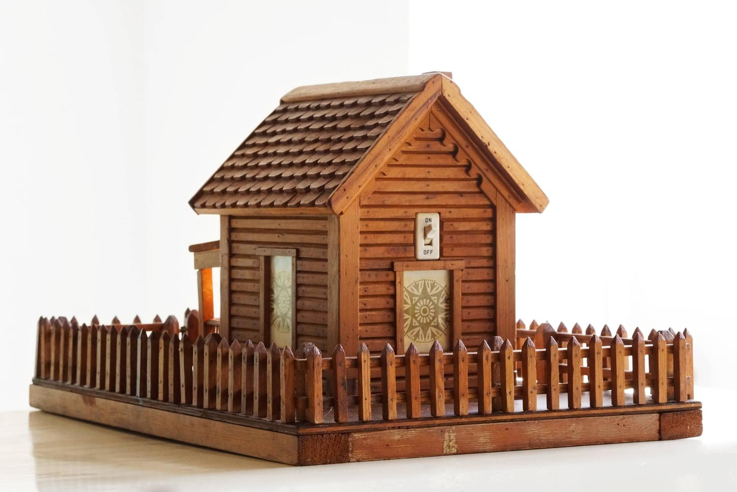 Amazing photo of American Folk Art Log Cabin Light For Sale at 1stdibs with #B74814 color and 1500x1002 pixels