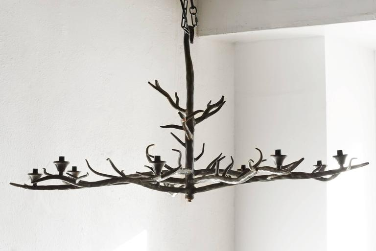Large Tree Branch Shaped Chandelier Of Formed Steel With Patina Finish This Artist
