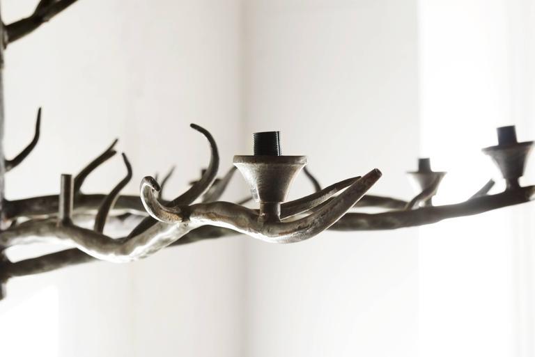 handmade tree branch chandelier steel at 1stdibs. Black Bedroom Furniture Sets. Home Design Ideas