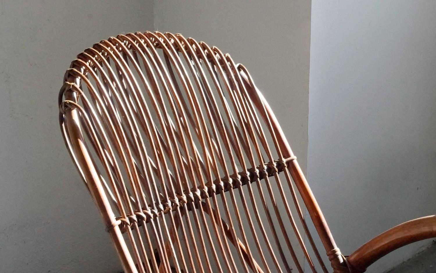 Mid Century Modern Rattan Rocking Chair By Franco Albini At 1stdibs