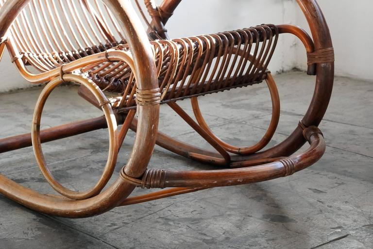 Mid Century Modern Rattan Rocking Chair By Franco Albini In Excellent  Condition For Sale In