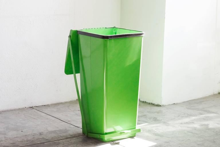 Vintage Storage Bin With Push Pedal, Refinished In Lime Green. This Tall,  Heavy
