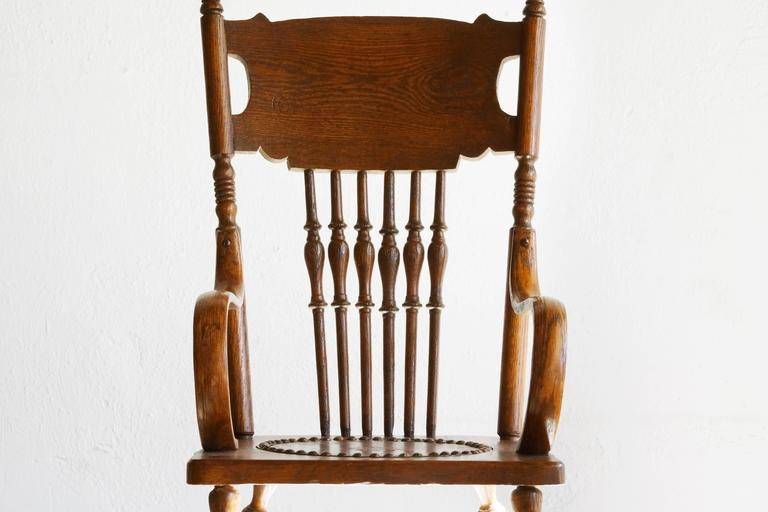 American Craftsman Antique Childu0027s Rocking Chair With Hand Tooled Leather  Seat For Sale