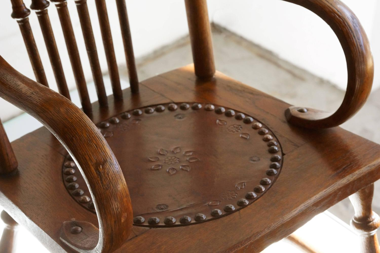 Antique Child s Rocking Chair with Hand Tooled Leather