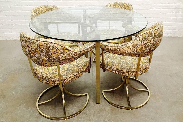Brass table and chair set by virtue brothers of california circa 1970