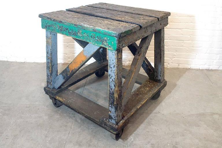 1920s wood rolling factory table for sale at 1stdibs. Black Bedroom Furniture Sets. Home Design Ideas