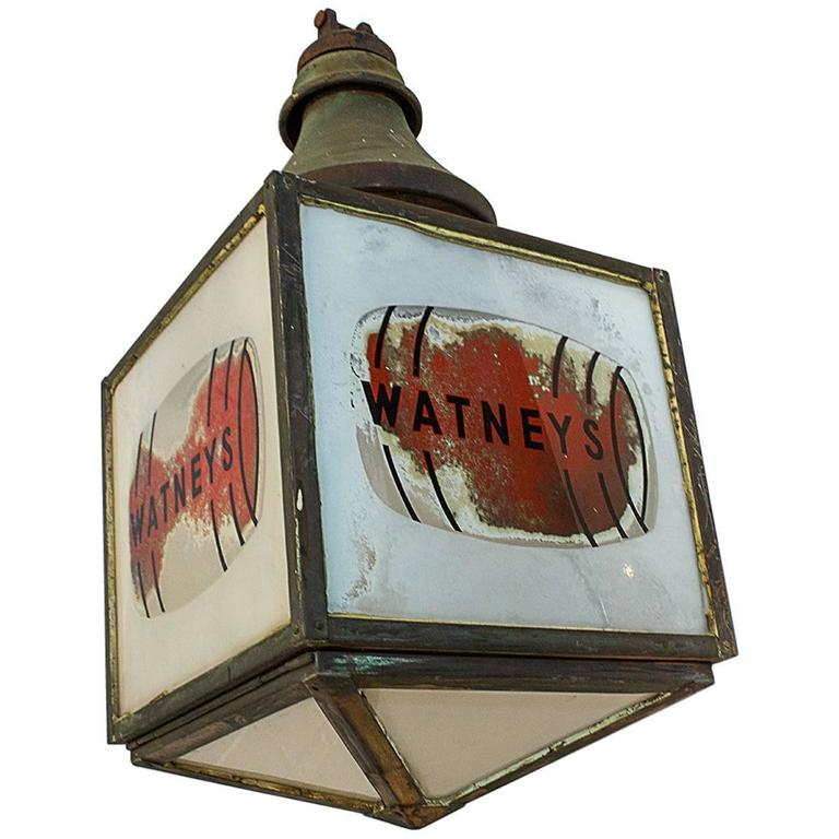 Extremely Rare Watney's Red Barrel Pendant Lamp, circa 1935 For Sale