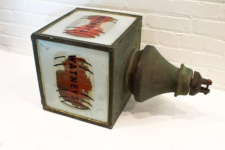 Fantastic Watney's Red Barrel hanging pub lamp from the 1930s. Copper frame with great patina. Frosted glass panels with the famous red barrel. One-panel missing. Will make the perfect wall sconce. A must have for the breweriana collector.