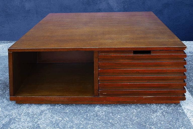 Art Deco Style Walnut Cube Coffee Table Circa 2000 At 1stdibs