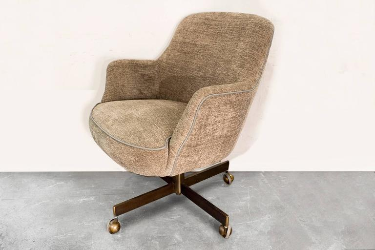 Super Comfy Bucket Chair Reupholstered In A Creamy Grey Chenille Fabric.  Brass Plated Base And