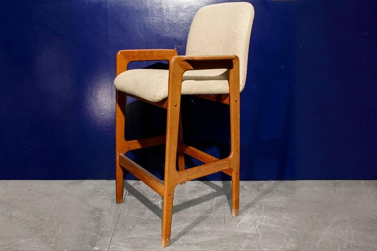 Very Clean Pair Of Benny Linden Teak Bar Stools With Original Cloth  Upholstery. Danish Design
