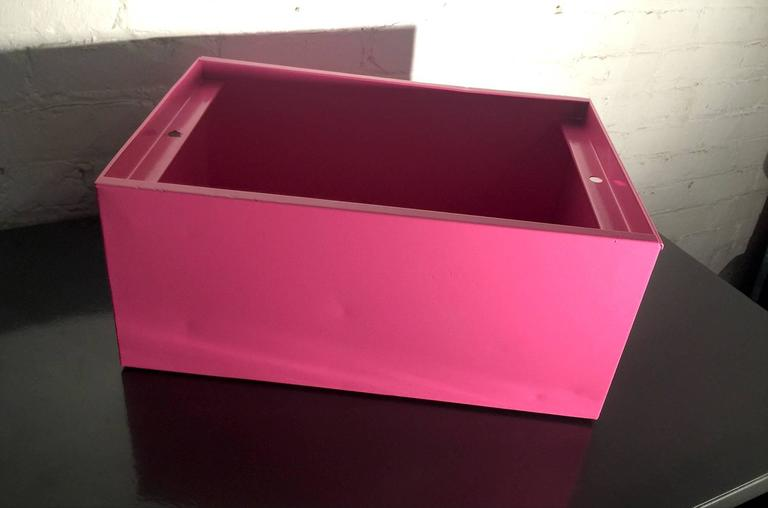American 1940s Industrial Storage Bin, Refinished in Pink For Sale