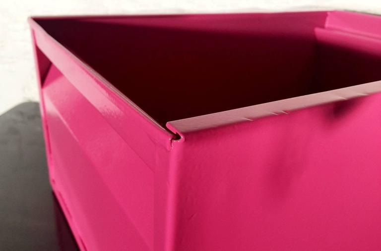Powder-Coated 1940s Industrial Storage Bin, Refinished in Pink For Sale
