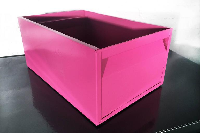 1940s Industrial Storage Bin, Refinished in Pink In Good Condition For Sale In Alhambra, CA