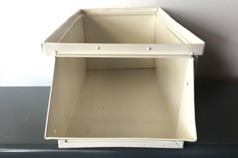 1940s Industrial Storage Bin, Refinished in White In Good Condition For Sale In Alhambra, CA