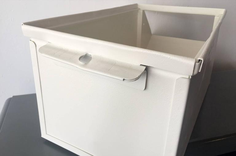 Mid-20th Century 1940s Industrial Storage Bin, Refinished in White For Sale