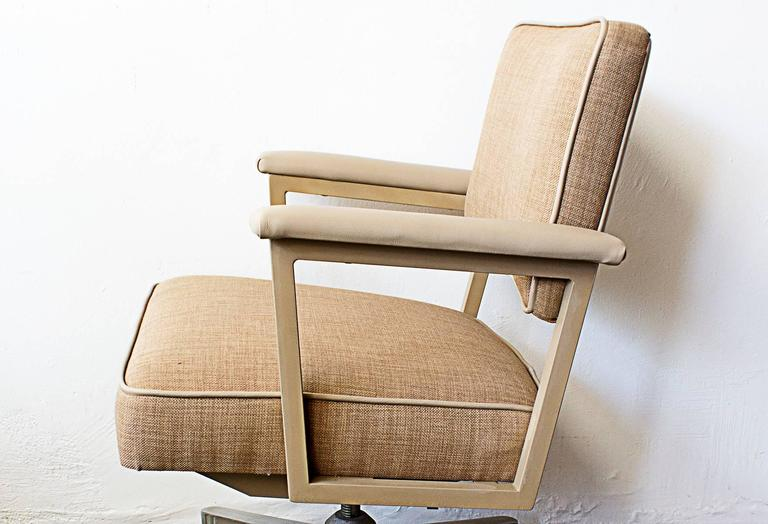 Classic Pair Of 1970s Tanker Style Office Chairs By Steelcase. Newly  Reupholstered In Cream