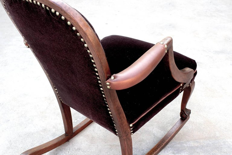 American Empire Style Rocking Chair in Oak circa 1890 For