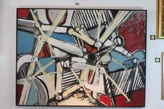"""1973 Ben Wilson """"Blue Skies and Angry People, Centrifuge"""" Large-Scale Oil"""