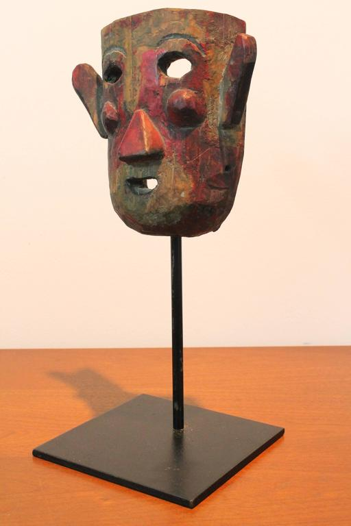 Primitive Colonial Mexican Folk Mask On Stand At 1stdibs