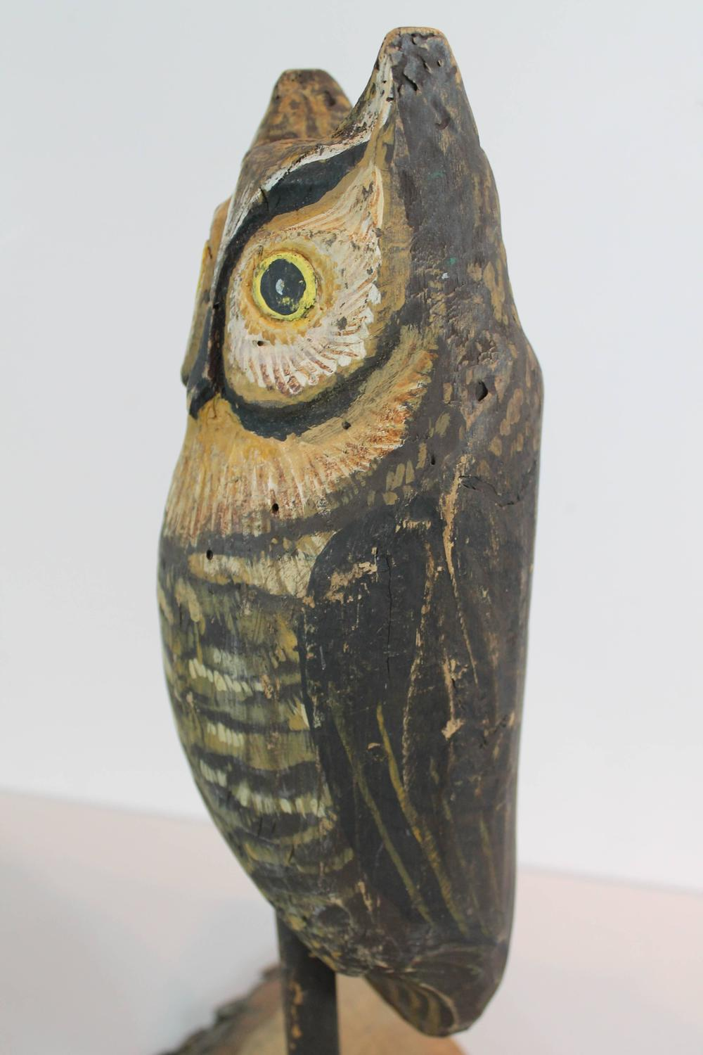 Folk art owl decoy for sale at stdibs