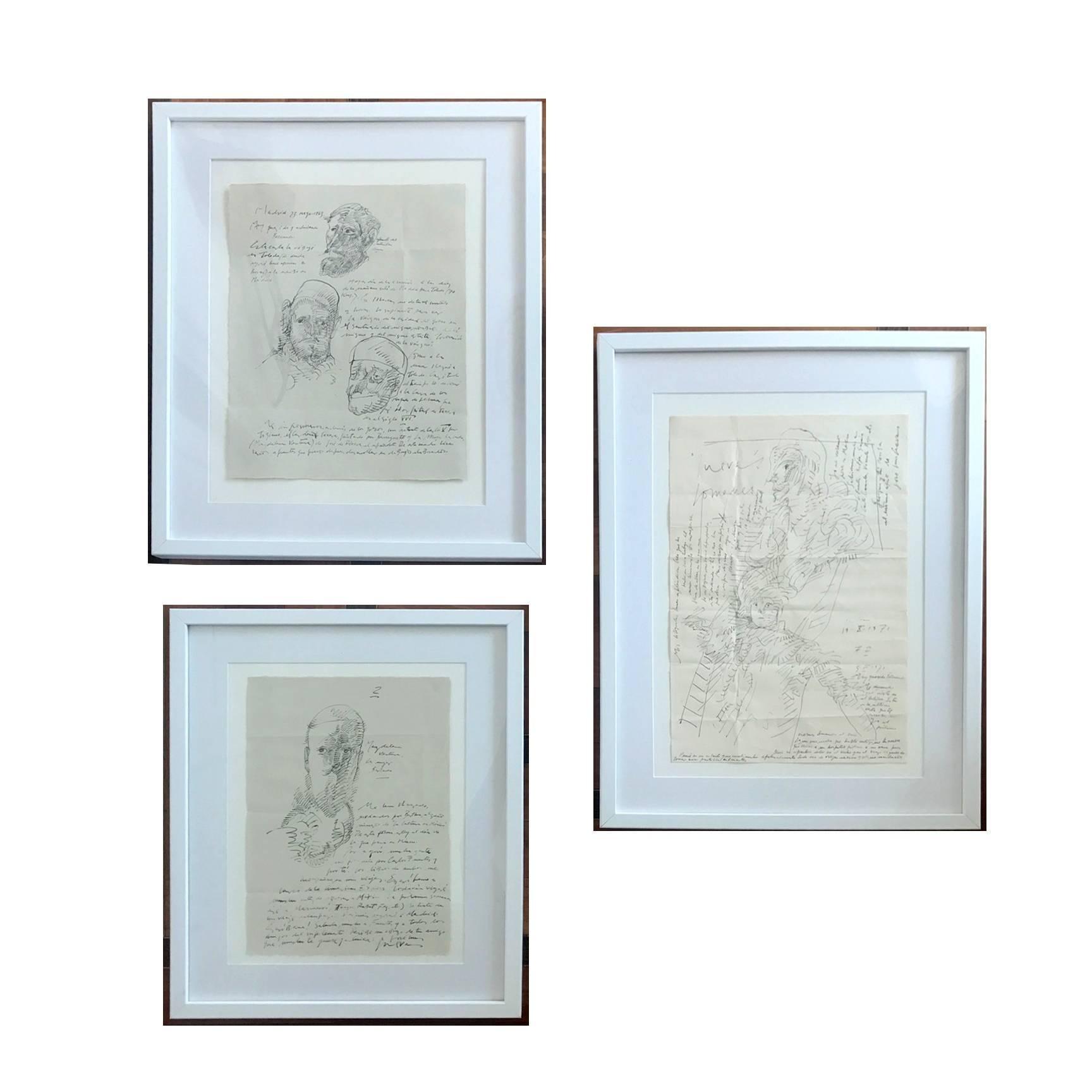 Group of Three Works on Paper by Jose Luis Cuevas, framed
