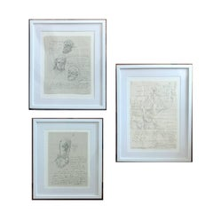 Group of Three Works on Paper by Jose Luis Cuevas, framed