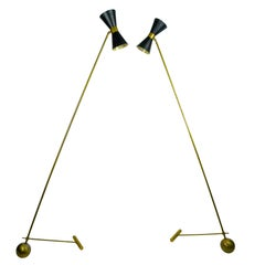 Counterweight Floor Lamps Attributed to Stilnovo, 1950s