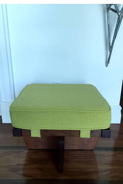 Fabric Walnut Greenrock Stool or Bench with cushion by George Nakashima For Sale