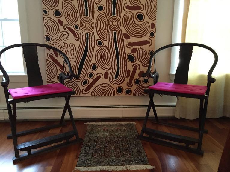 Pair Of Antique Chinese Horseshoe Back Folding Chairs 2