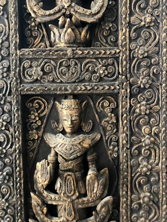 Gold A Pair of Antique Architectural Window panels from Thailand For Sale