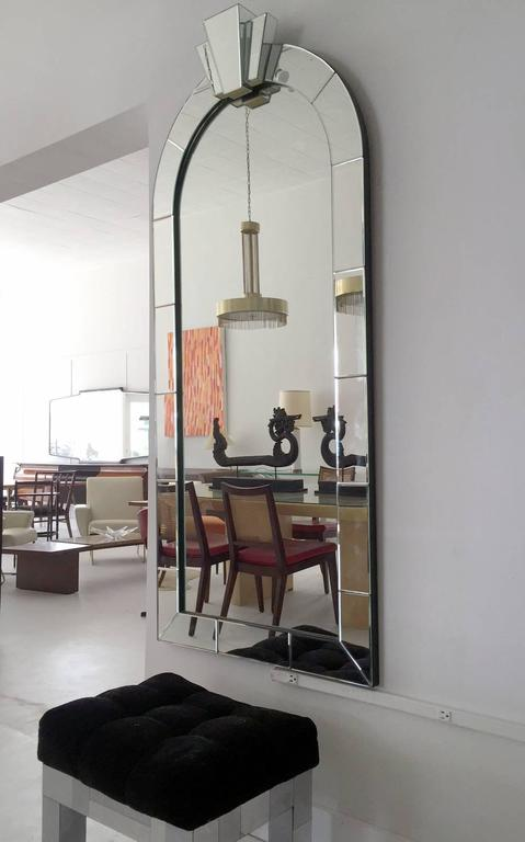 American Modern Pair of Dome Top Art Deco Style Mirrors by Karl Springer For Sale