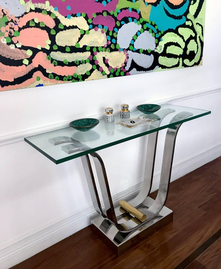 Brass Karl Springer Console Dining Table For Sale