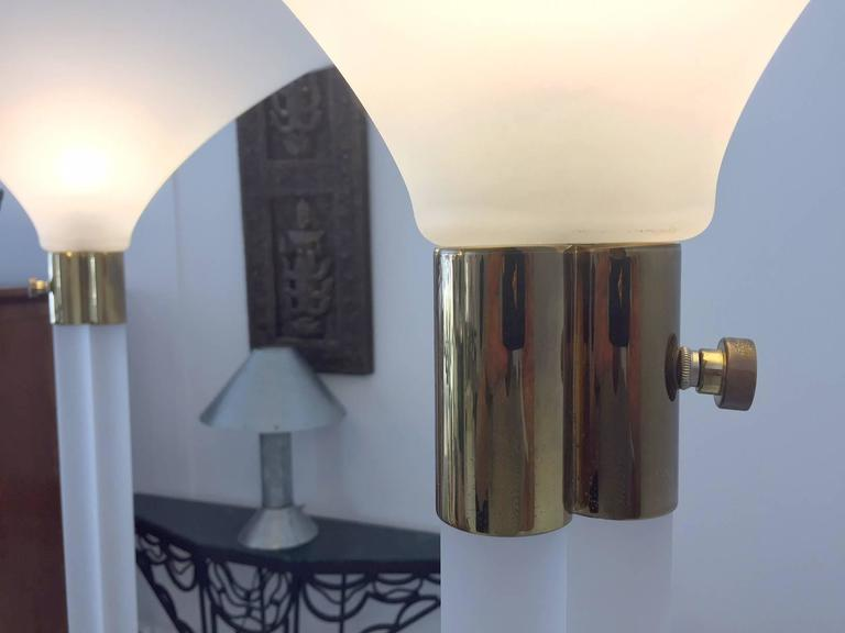 Pair of Sandblasted Lucite Torchere by Karl Springer In Good Condition For Sale In North Miami, FL