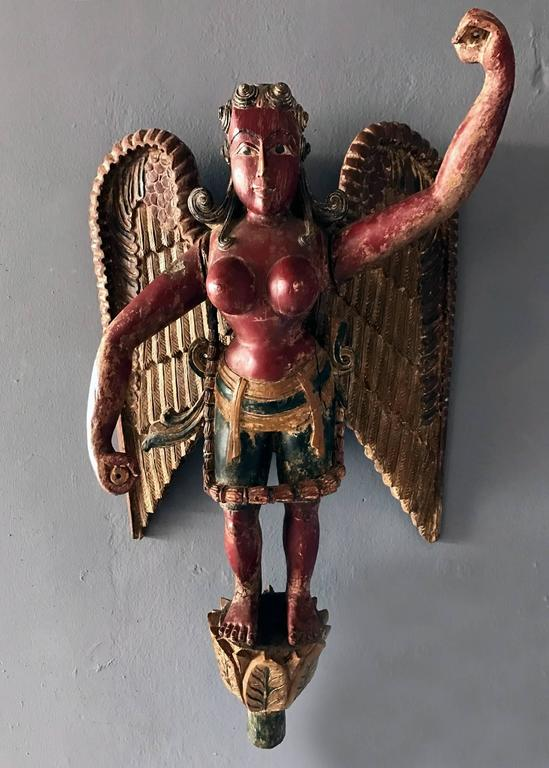 Antique Statue Of A Winged Hindu Female Deity For Sale At -3685