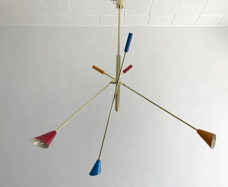 Mid-Century Modern Italian Brass Ceiling Light with Articulate Arms For Sale