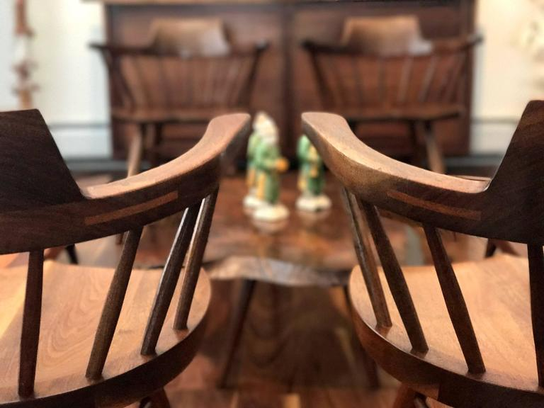 Set of Four Captain Chairs by George Nakashima For Sale 1