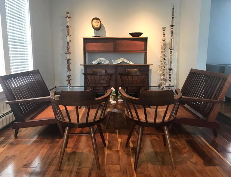 Mid-Century Modern Set of Four Captain Chairs by George Nakashima For Sale