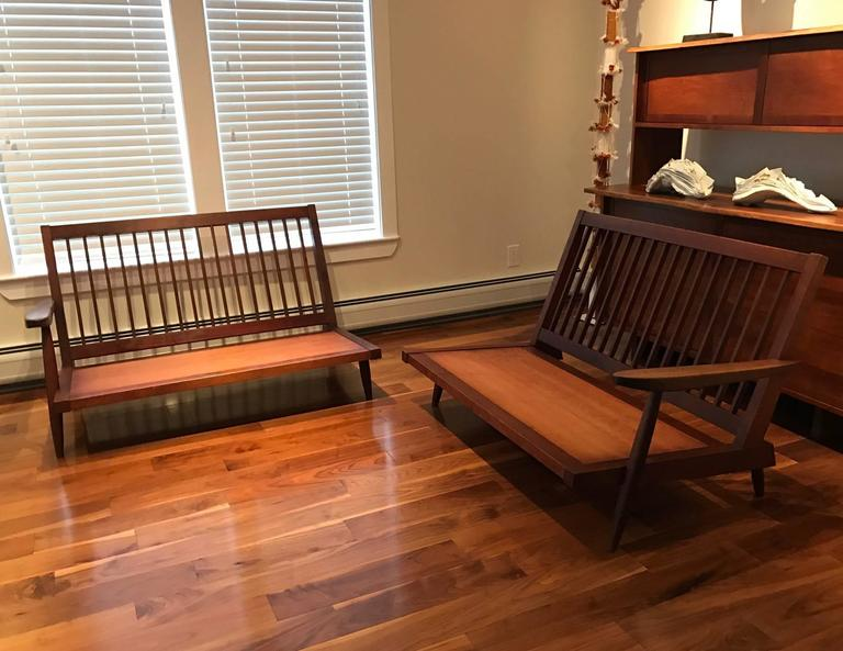 Mid-Century Modern Early Two Sectional Walnut Settees by George Nakashima For Sale